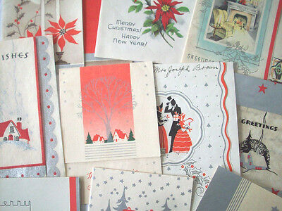 Lot of 10 red poinsettia CHRISTMAS VINTAGE GREETING CARD *L30