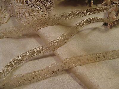 """ANTIQUE FRENCH COTTON INSERTION LACE 2 yds 3/8"""" DOLL CRAFT"""