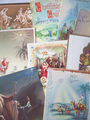 Lot of 10 3 Kings Nativity Holy Family CHRISTMAS VINTAGE GREETING CARD *L6