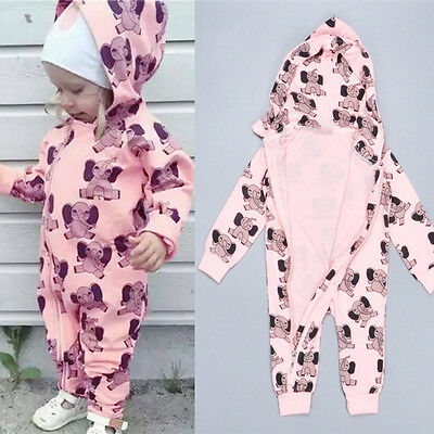 Newborn Baby Girl Boy Floral Clothes Hooded Jumpsuit Romper Bodysuit Outfits