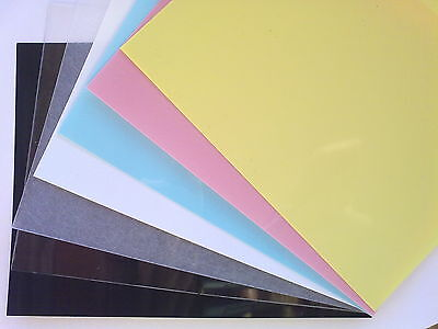 9 Sheets Shrink Plastic Colour Choice Black Clear Frosted White Blue Pink Yellow