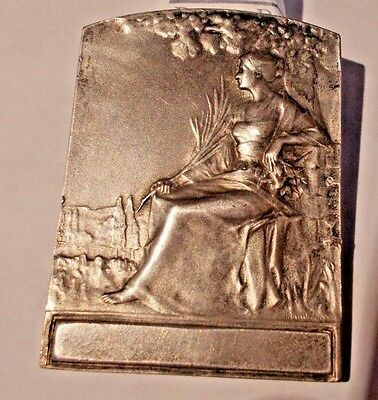 France Art Nouveau Seated Women Silvered Bronze Medal/plaque By R. Baudichon