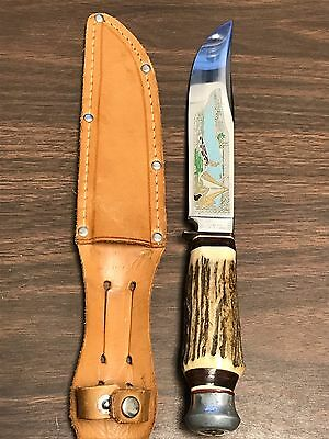 Vintage Solingen Cutlery Germany B. Svoboda Sheath Knife w/ Stag Handles
