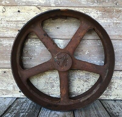Large Vintage Cast Iron Metal Pulley Gear Wheel Industrial Steampunk Base 14.25""