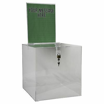 Clear-Ad - SBB-1212-H - Acrylic Ballot Box with Lock and Sign Holder - Be... NEW