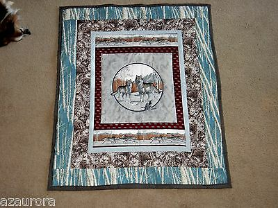 "GRAY WOLF WALL HANGING or  SMALL LAP QUILT home made USA 33"" X 39"""