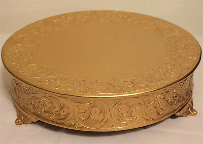 Grand Wedding Matte Gold Round Cake Stand Plateau 16 Inch