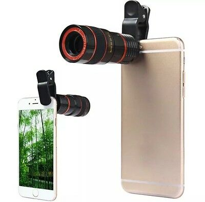 Clip On Telescope Camera Lens For Cellphone 8X Zoom Lens iPhone Samsung