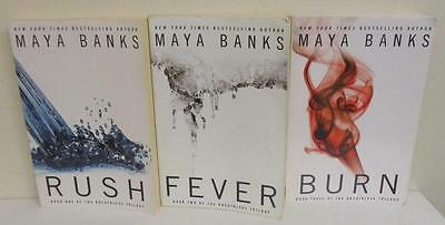 The Complete Breathless Trilogy by Maya Banks (Lot of 3 Books; Rush Fever Burn)