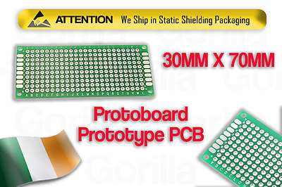 Double-Side Prototype PCB Stripboard Circuit Soldering 30X70mm Arduino New