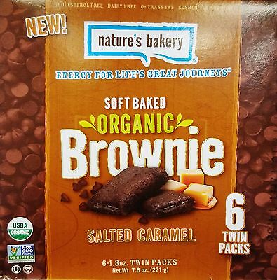 1 Nature's Bakery Soft Baked Organic SALTED CARAMEL Brownie Snack Bar 7.8 oz