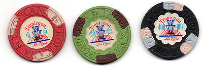 Tropicana $5.00 $25.00 & $100.00 Casino Chips Las Vegas NV Lot of 3 Fountains