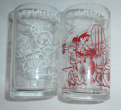 "2 Rare Vintage 1962 ""The Flinstones"" HANNA BARBERA Welch's Jelly Glasses"