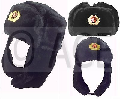 Mens Womens Military Russian Faux Fur Hat Cossack Thick Pile Winter Warm Hats