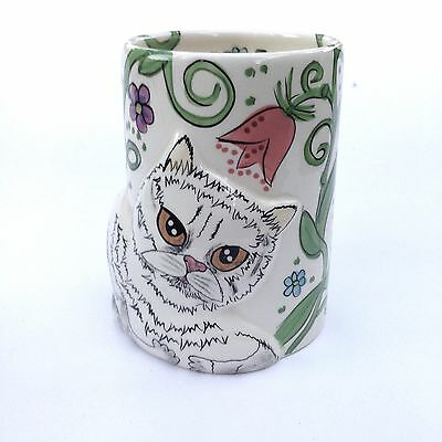 Unusual Nina Lyman Cat By Nina Hand painted Ceramic Vase Cat Collectables