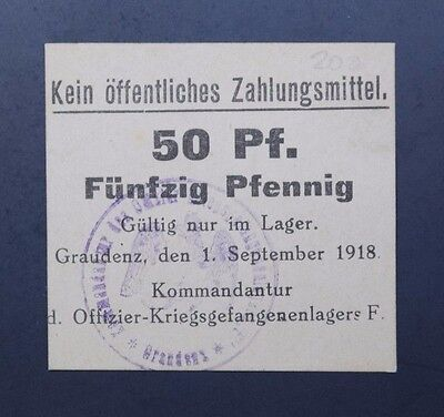 Graudenz Pow Camp 50 Pfennig 1918 Unc Condition Wwi Germany