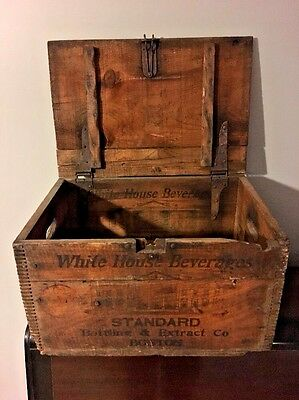 Rare Antique White House Ginger Ale Boston Wooden Bottle Crate Nice Graphics