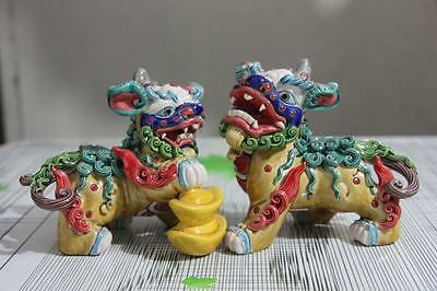 4 Chinese WuCai pottery porcelain Evil Guardian Lion Foo Fu Dog Kilin Beast Pair