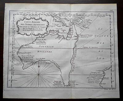 1753 Very Early Bellin Map Of Australia Showing Pre Cook Theoretical East Coast