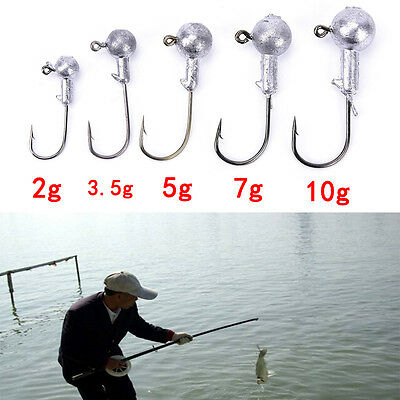 20pcs/lot 2g 3.5g 5g 7g 10g lead jig head hook lure bait carp fish worm hook SMS