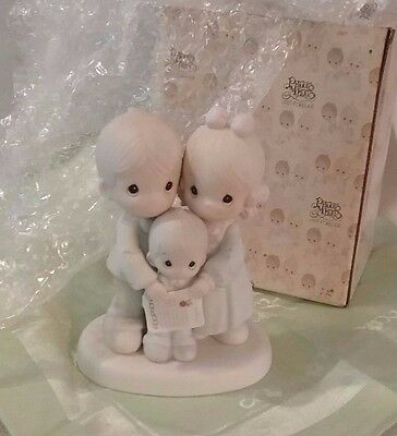 Retired  Precious Moments Porcelain Figurine- God Bless The Day We Found You