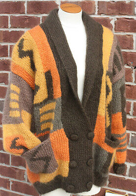 Vtg Cowichan Sweater Cardigan Hand Knit Aztec Mohair Wool 70s Lebowski Fuzzy M/L
