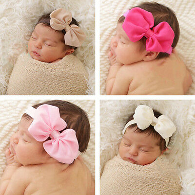 10pcs Colors Baby Girl Newborn Chiffon Bowknot Headbands Cute Hair Band headwear