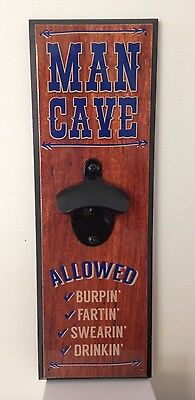 """Man Cave"" Wall Mounted Beer Bottle Bar Bottle Opener Man Cave Dad Gift"