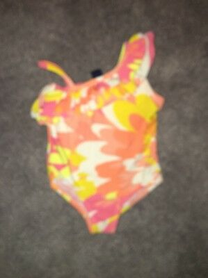 Baby Gap Girls Swimsuit Coral Floral Print 12-18 Months Euc One Piece