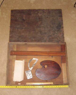 Solid Wood Antique Drafting Board W/ Antique Case & Instruments.