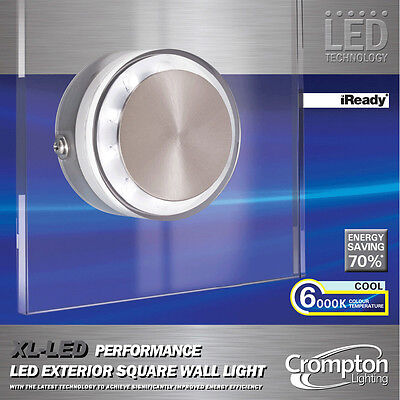 XL LED Performance Outdoor Square Wall Light Glass Cool White 6000K 240V IP44