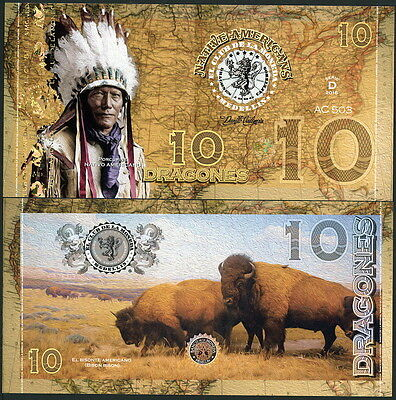 Colombia Club Moneda 10 Dragones 2016 Polymer Fantasy Note- Indian Chief, Bison!