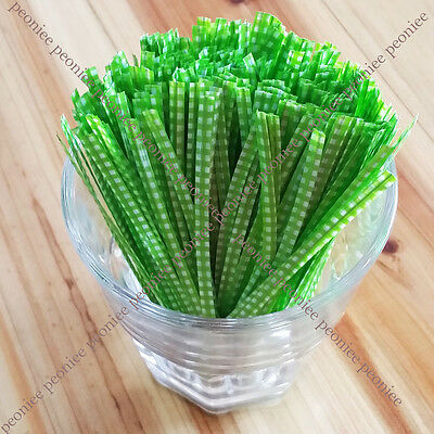 100/500 sweet green checker twist ties food gift cello cellophane bag packaging