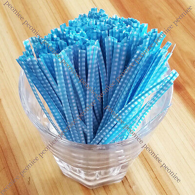100/500 sweet blue checker twist ties food gift cello cellophane bag packaging a