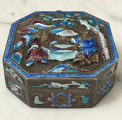 SUPERB Antique CHINESE PILL Box CURIO CASE Enamelled SILVER QING  Repousse