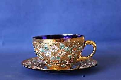 Vintage Antique Venetian Glass, Gold & Enamel cup & saucer.