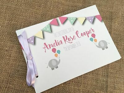 Personalised Guest Book Christening Birthday Naming Day Baptism - Elephants D21