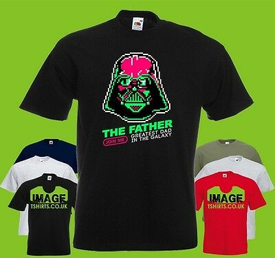 The Father Pixel Mens PRINTED T-SHIRT Greatest Dad Galaxy Darth Vader Star Wars