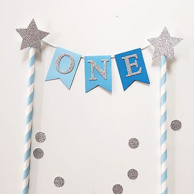 Bunting Cake Topper 1st Birthday Baby Boy Blue Ombré With Silver Glitter Stars