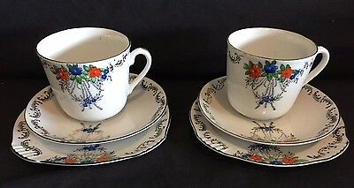 Set of 2 Vintage hand painted Tea cup Trios made in Japan