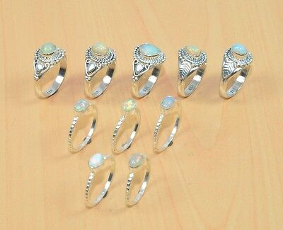 Wholesale 10Pc 925 Solid Sterling Silver Natural Welo Ethiopian Opal Ring Lot