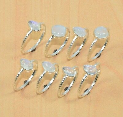 Wholesale 8Pc 925 Solid Sterling Silver Natural Rainbow Moon Stone Ring Lot