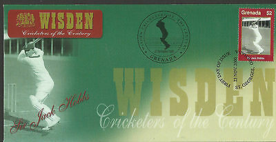 GRENADA WISDEN 2000 CRICKET SIR JACK HOBBS 1v FIRST DAY COVER No 3 of 4