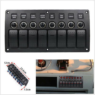 12-24V Multifunction 3 Pin 8 Gang Car SUV Rocker Switch Panel Overload Protected