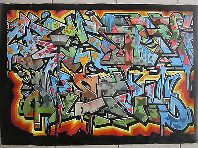 """47"""" Street Art Painting graffiti Urban oil on canvas large By pepe"""