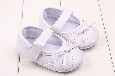 White 12cm Newborn Baby Infant Girl Toddler Bow Soft Sole Prewalk Leather Shoes