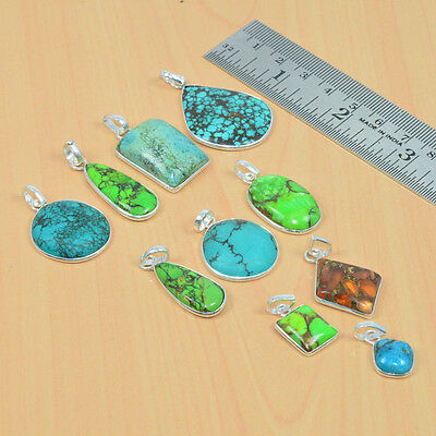 Wholesale 10Pc 925Solid Sterling Silver Natural Blue,green Turquoise Pendant Lot
