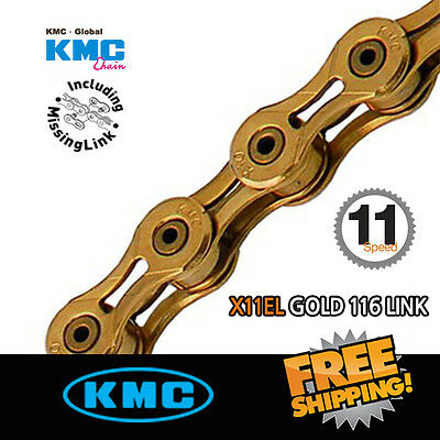 KMC X11EL Gold 116 link Chain with Missing Link for Road/ MTB Bike Shimano Sram