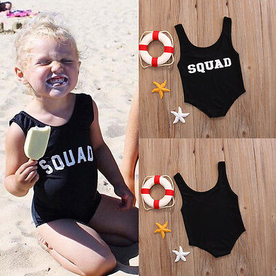 Kids Baby Girls One Piece Black Tankini Bikini Swimsuit Swimmers Bathers Clothes
