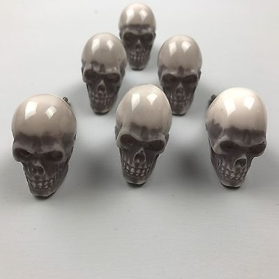 New SET 6 X GREY Resin SKULL with cream detail - Knob  Home decor drawer pull